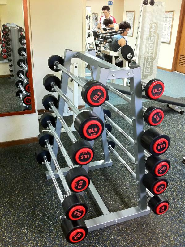 The new barbell weights on the rack