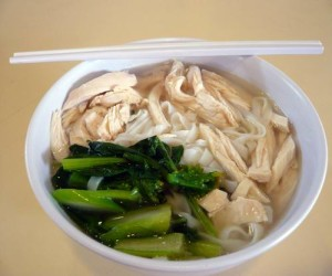 kway teow soup with chicken breast meat img